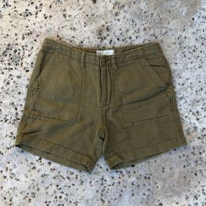Free People Olive Green Linen/Cotton Shorts Size 2